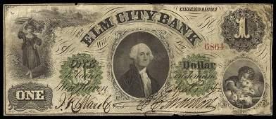 CT New Haven Elm City Bank $1 1862
