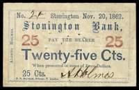 CT Stonington Stonington Bank 25¢ Nov. 20, 1862