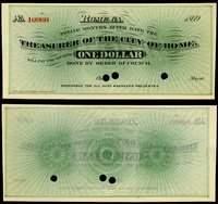 GA Rome Treasurer of the City of Rome $1 1869