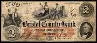 MA Taunton Bristol County Bank $2 March 1861