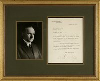 Coolidge, Calvin - Typed Letter Signed August 1923