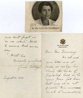 Coolidge, Grace - Auto Ltr Signed re: son's death!