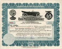 Pan Motor (DE) 1919. St. Cloud, Minnesota 5 shs