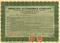 Sweeten Automobile (PA) 1923. #60. 10 shares
