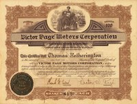 Victor Page Motors (DE) 1921. #961. 100 shares