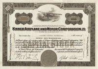Kinner Airplane and Motor (CA) 1936 100 shares