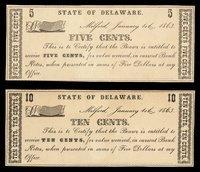 DE Milford State of Delaware Jan 1 1863 Scrip Set (4)