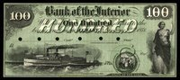 NY Albany Bank of the Interior $100 Jan 2, 1858