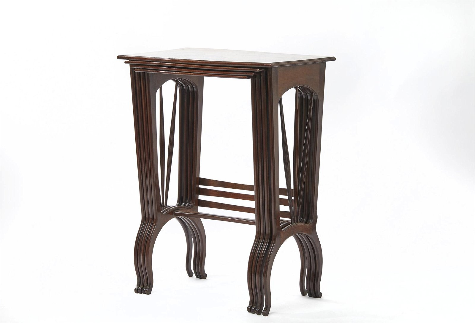 Set of 4 nesting coffee tables in exotic wood with