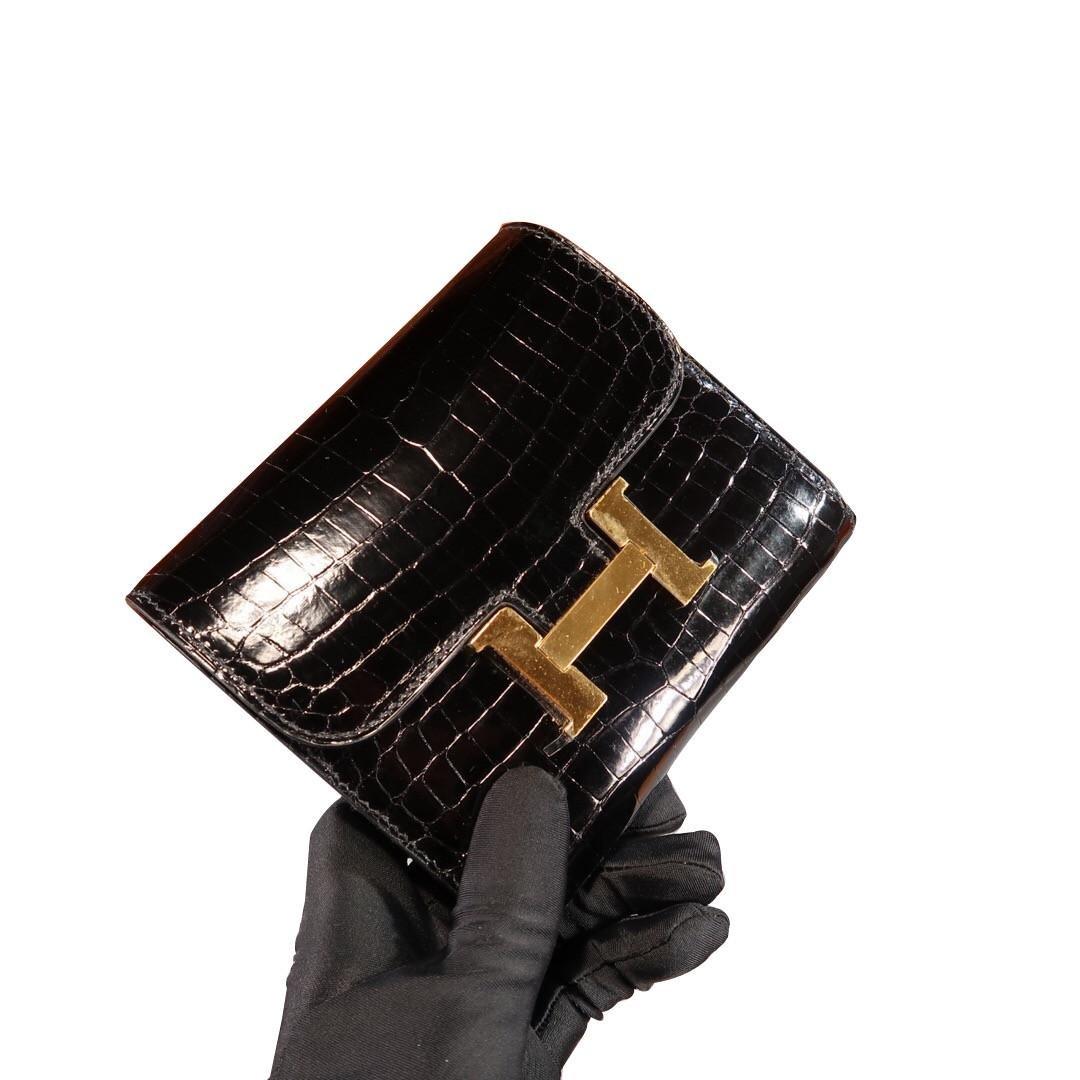 Hermes Shiny Alligator Constance Short Wallet