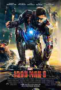 Iron Man 3 Poster A Robert Downey Jr Autographed