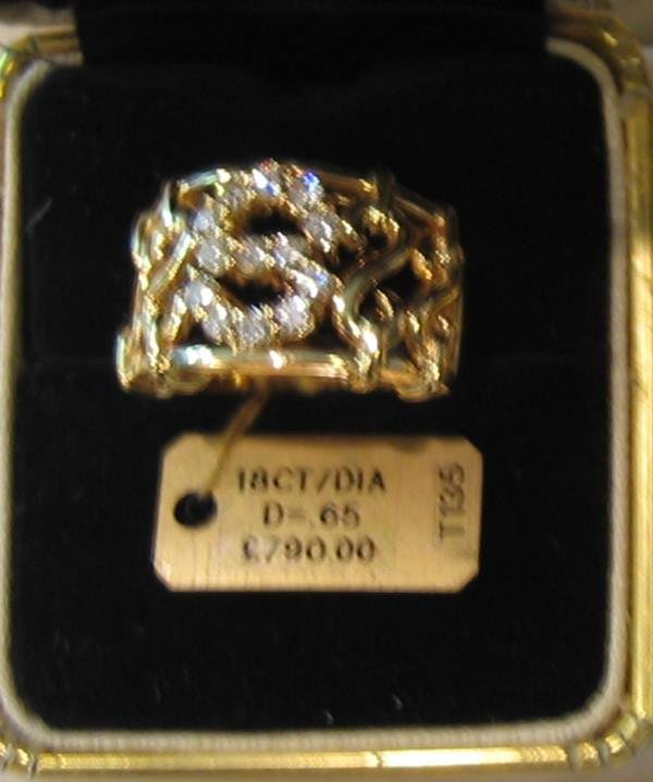 9: 1 PC 18KT GOLD DIAMOND S INITIAL RING