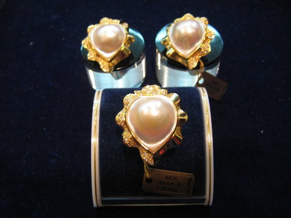 18: 1 SET PEARL RING AND EARRING SET WITH DIAMOND