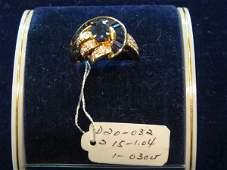 22: 1 PC 18KT GOLD DIAMOND/BLUE SAPPHIRE RING