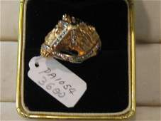 92: 1 PC 18KT GOLD DIAMOND HORSE HEAD RING