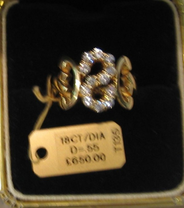 94: 1 PC 18KT GOLD DIAMOND S INITIAL RING