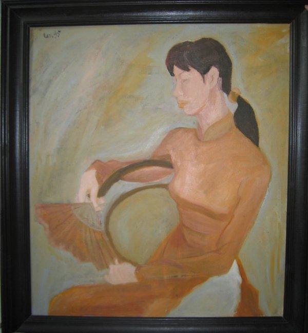 146: Asian Vietnanese oil painting origional