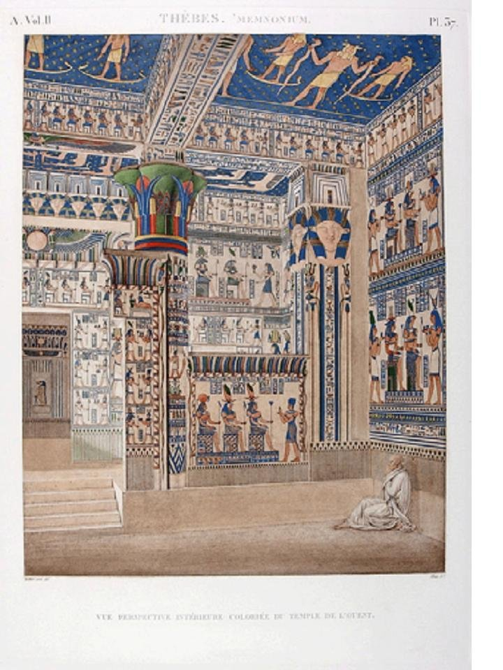 Colored interior view of the West Temple