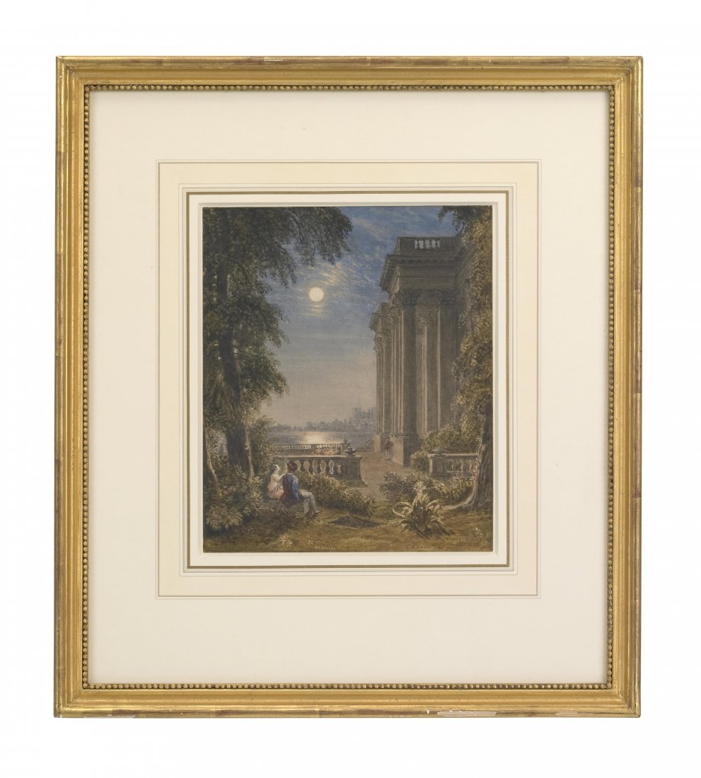Figures in the Moonlight by a Classical Building