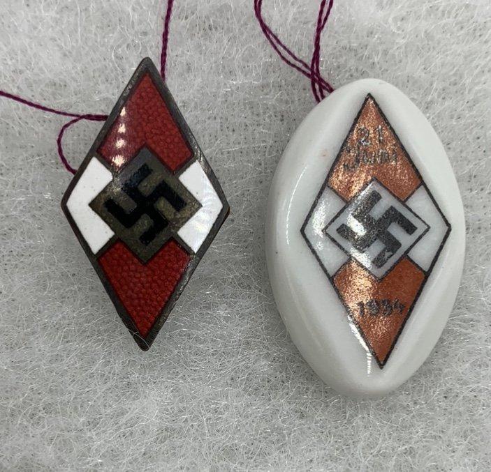 German WWII Set of HJ (Hitlerjugend) Badges