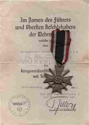 War Merit Cross 2nd Class With Swords and Award Documen