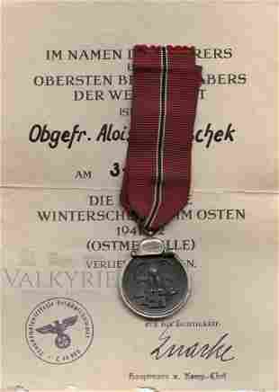 Russian Front Medal 1941/42 and Award Document
