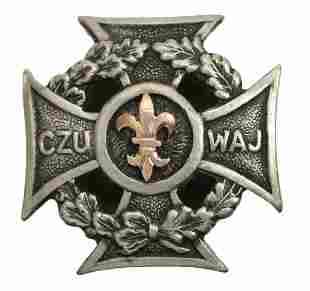 Polish Male Scout Cross Badge 1932 Gold Lily