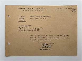 Hermann Pister Signed Document - Buchenwald Commandant