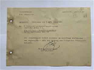 Karl-Friedrich Hocker Signed Document - Auschwitz