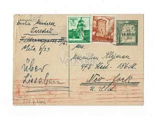 Rare Postcard Sent from Jewish Warsaw Ghetto 1941