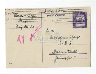 Rare Postcard Sent from Jewish Warsaw Ghetto 1943