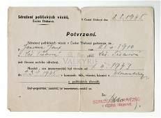KL Flossenburg - Post-war Czech Prisoner Certificate