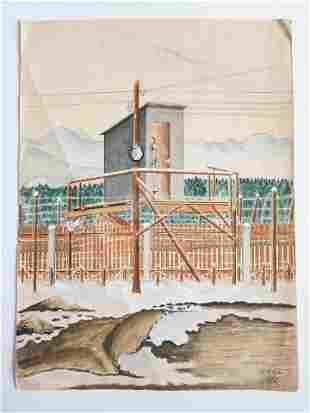 Watercolor Painting 1939 of POW from Murnau Oflag VII A