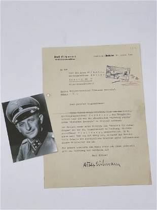 Adolf Eichmann Signed Letter to Heinrich Mueller