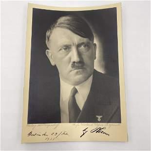 Adolf Hitler Signed Large Portrait Photo