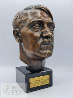 Bronze A. Hitler 1/2 Size Bust with Dedicatory Plaque
