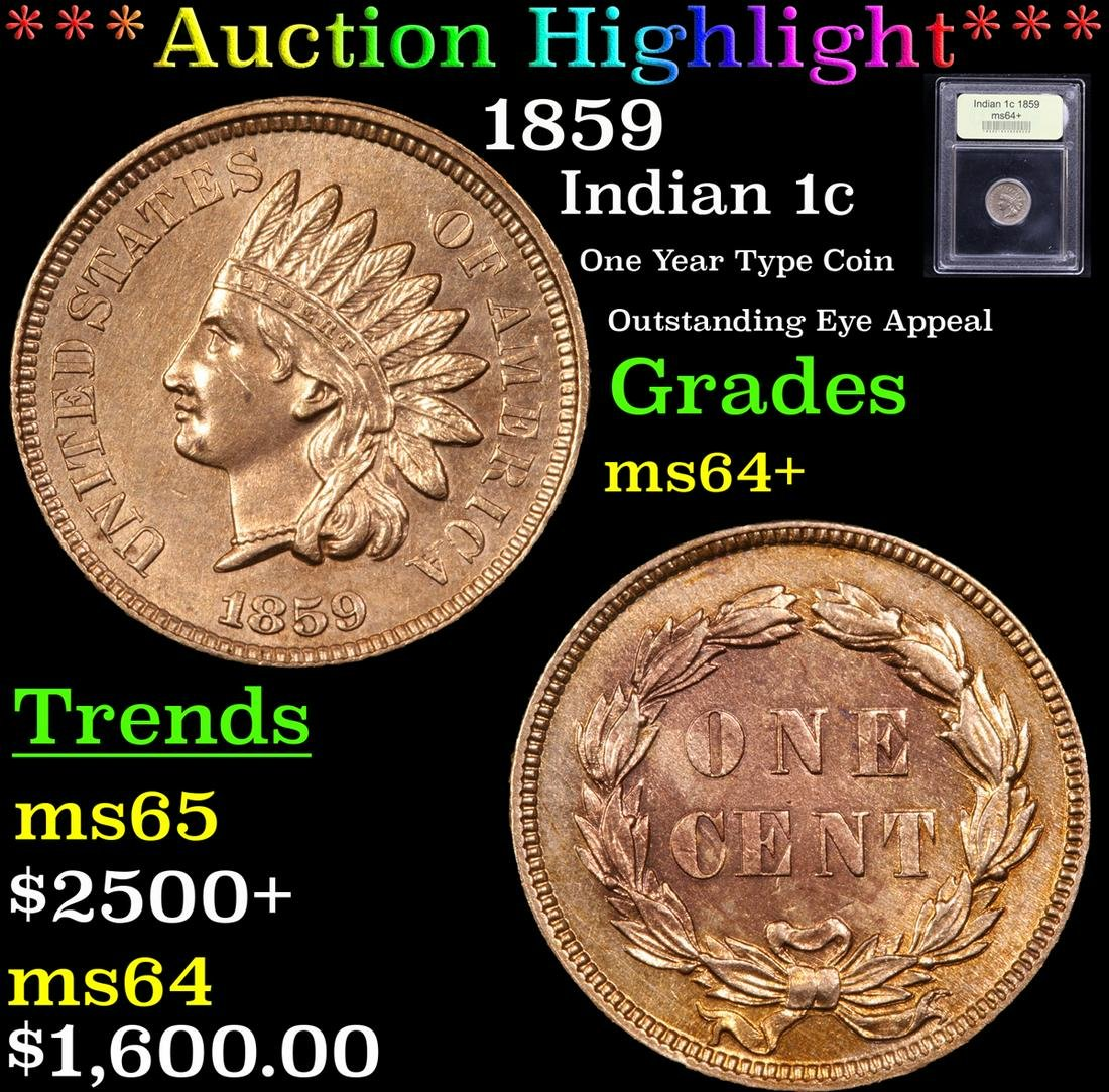 ***Auction Highlight*** 1859 Indian Cent 1c Graded