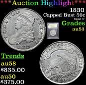 ***Auction Highlight*** 1830 Capped Bust Half Dollar