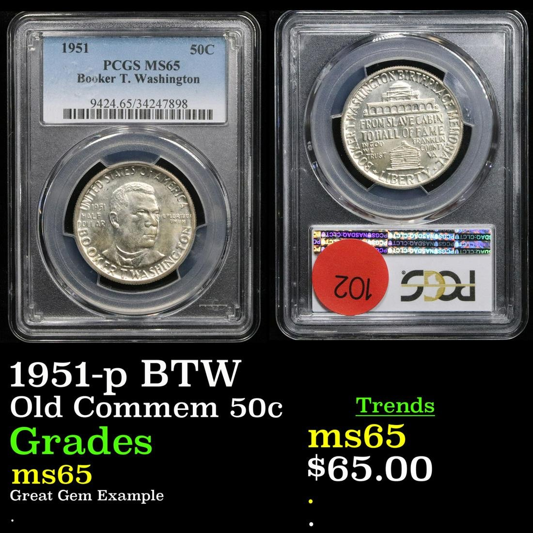 PCGS 1951-p BTW Old Commem Half Dollar 50c Graded ms65
