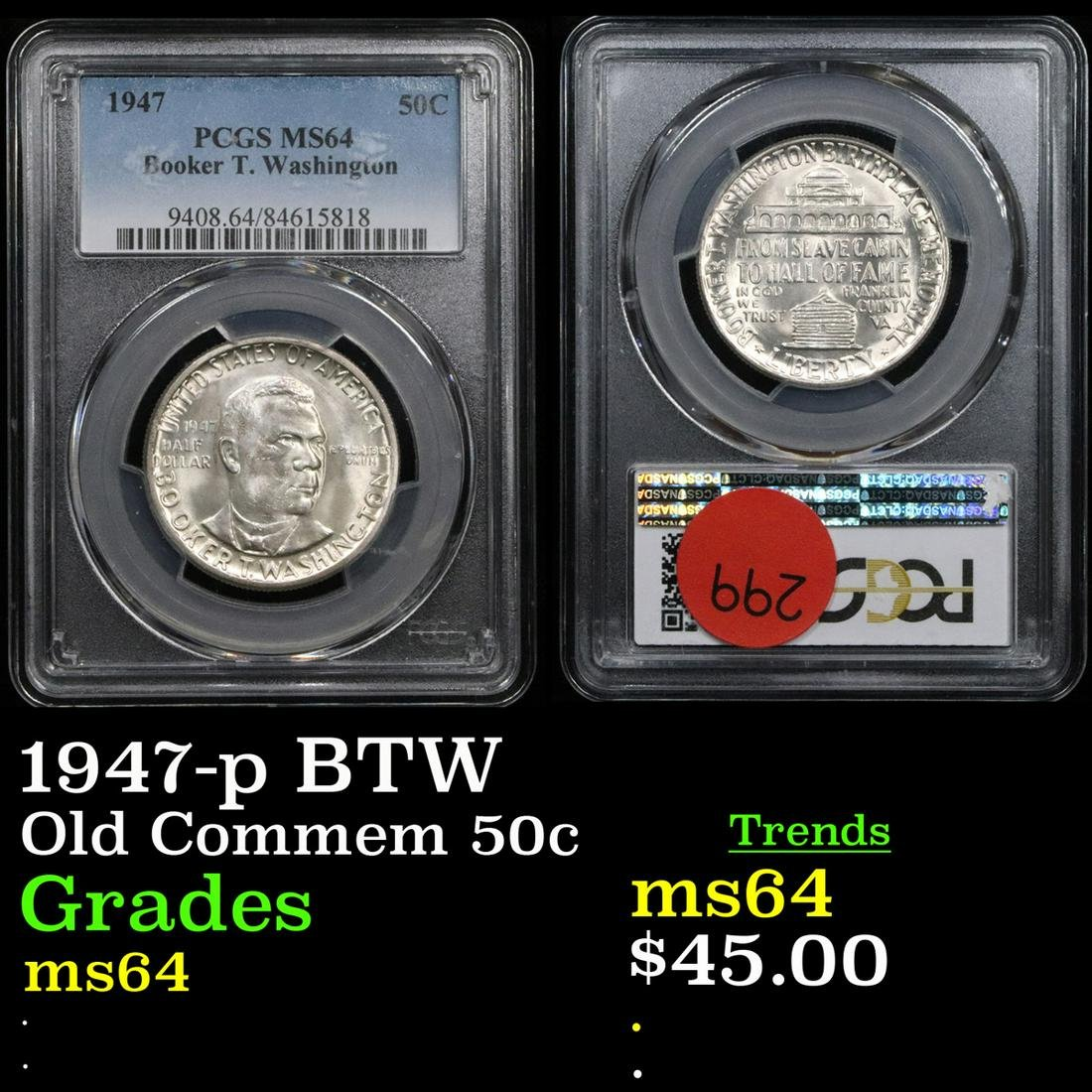 NGC 1947-p BTW Old Commem Half Dollar 50c Graded ms64
