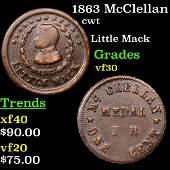 1863 McClellan Civil War Token 1c Grades vf