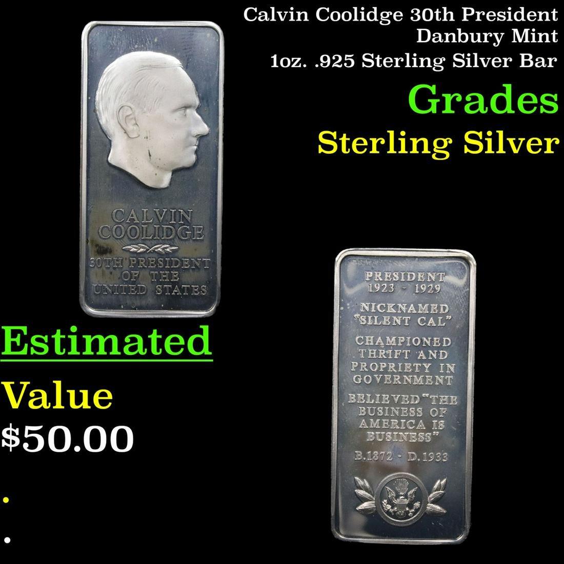 Calvin Coolidge 30h President Danbury Mint 1oz. .925