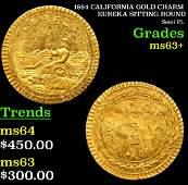 1884 CALIFORNIA GOLD CHARM EUREKA SITTING ROUND Grades