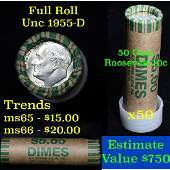 1955-d Roosevelt Dime 10c roll, 50 pieces (fc)