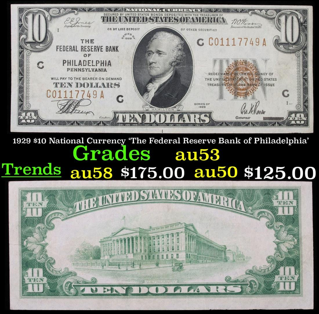 1929 $10 National Currency 'The Federal Reserve Bank of