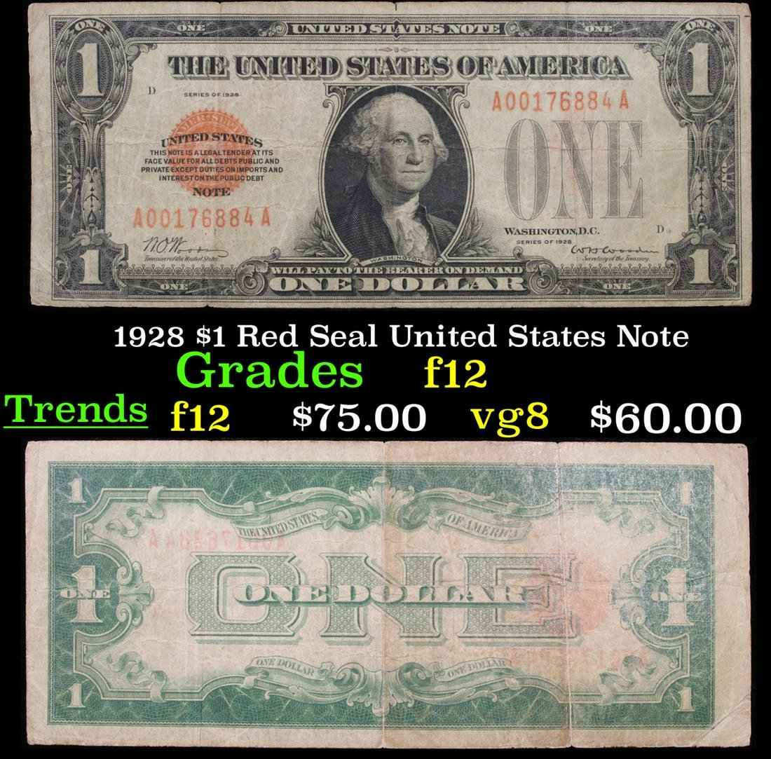 1928 $1 Red Seal United States Note Grades