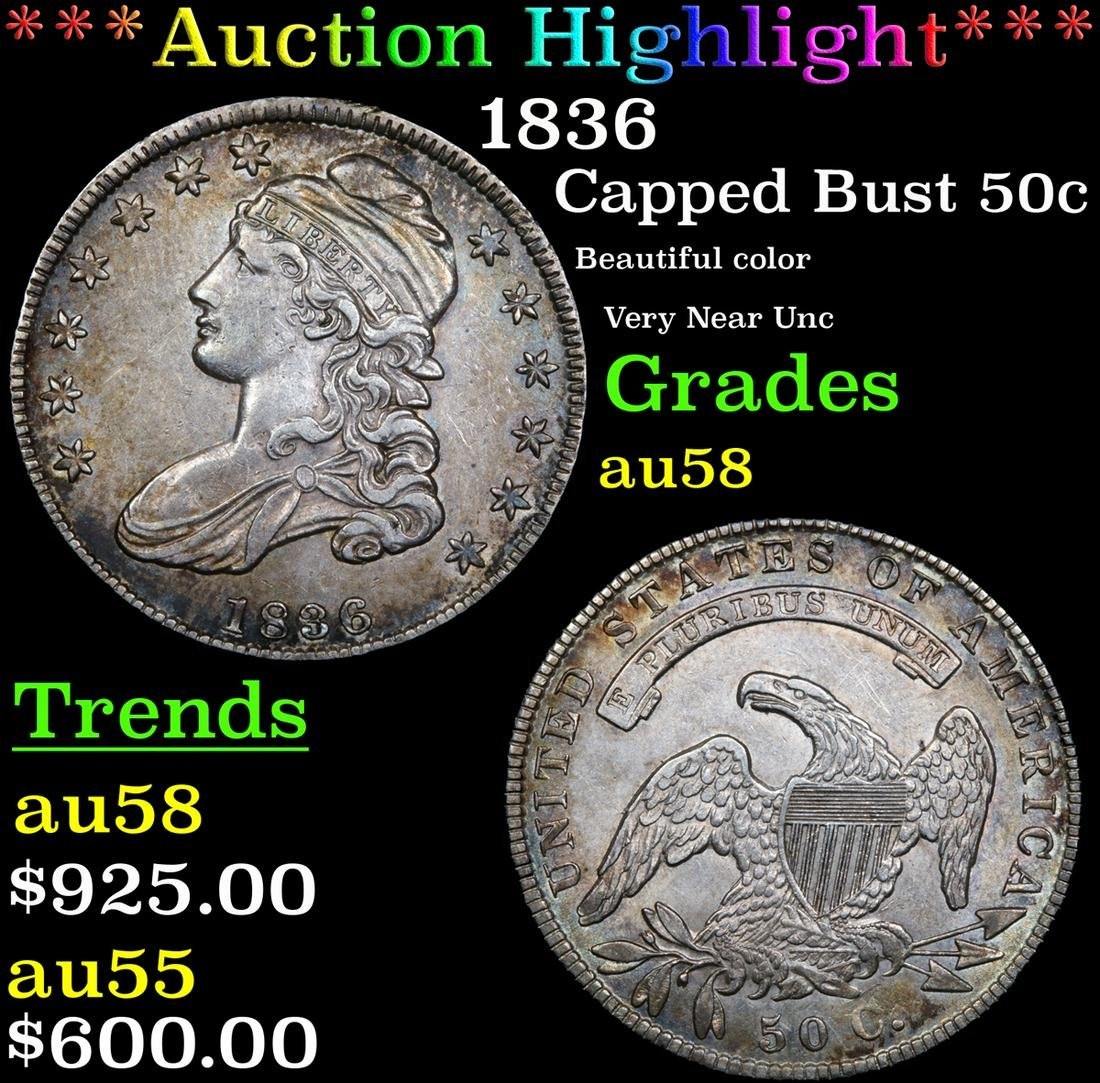 *Highlight* 1836 Capped Bust 50c Graded Choice AU/BU
