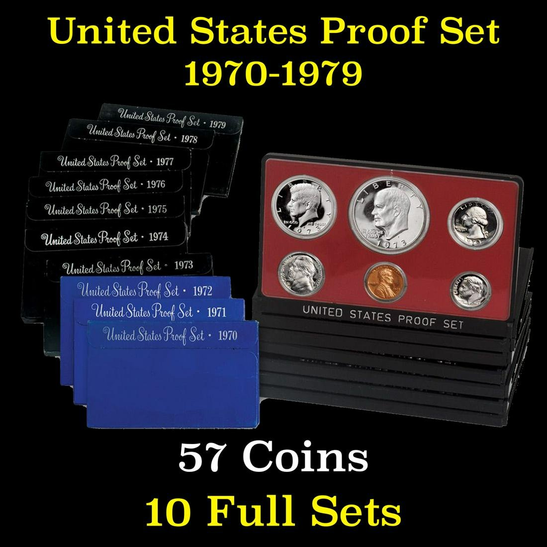 Group of 10 United States Proof Sets 1970-1979 57 coins