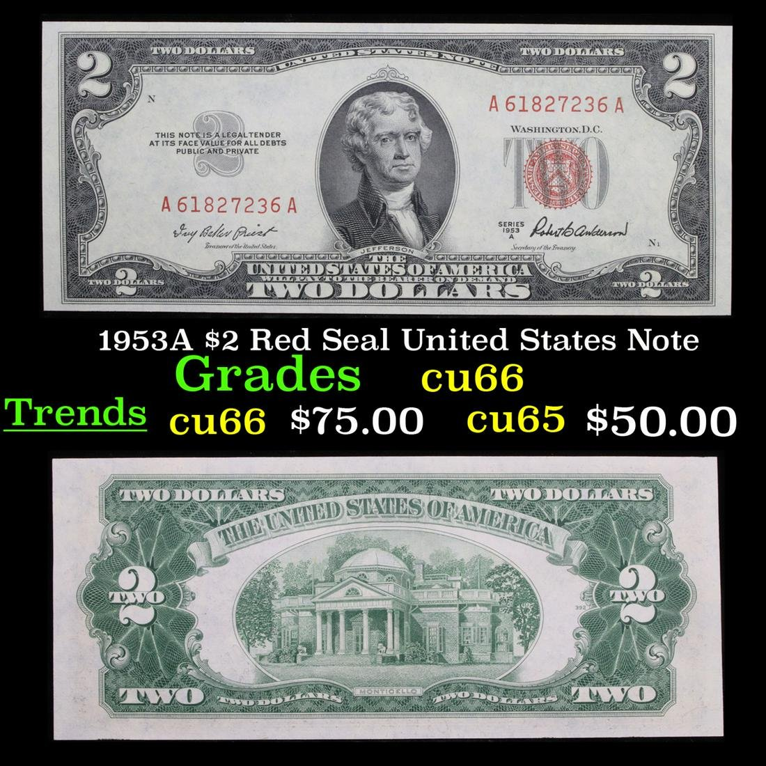 1953A $2 Red Seal United States Note Grades Gem+ CU