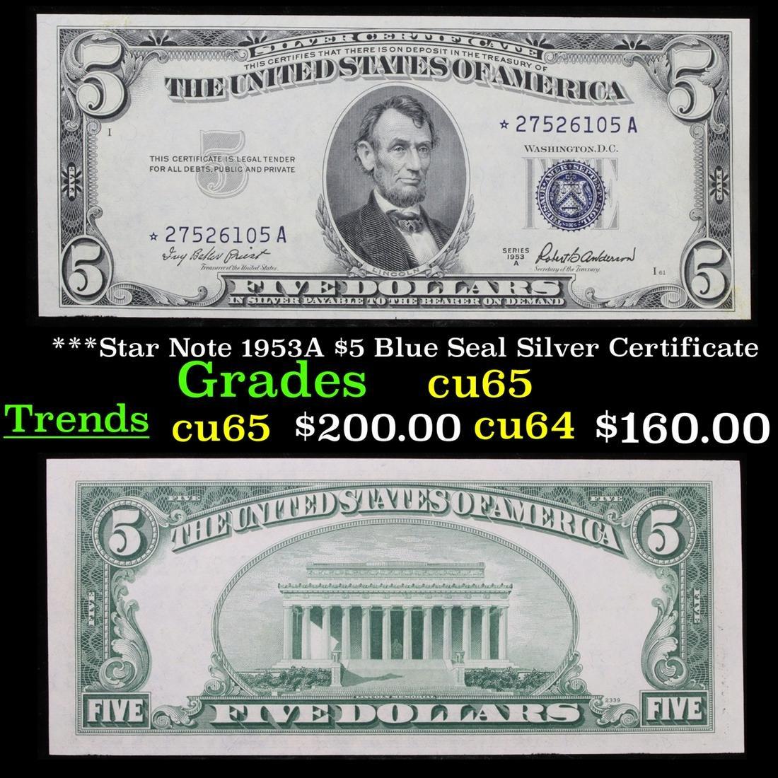 ***Star Note 1953A $5 Blue Seal Silver Certificate